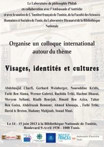 Colloque: Visages, identités et cultures dans Philosophie en Tunisie affiche--212x300